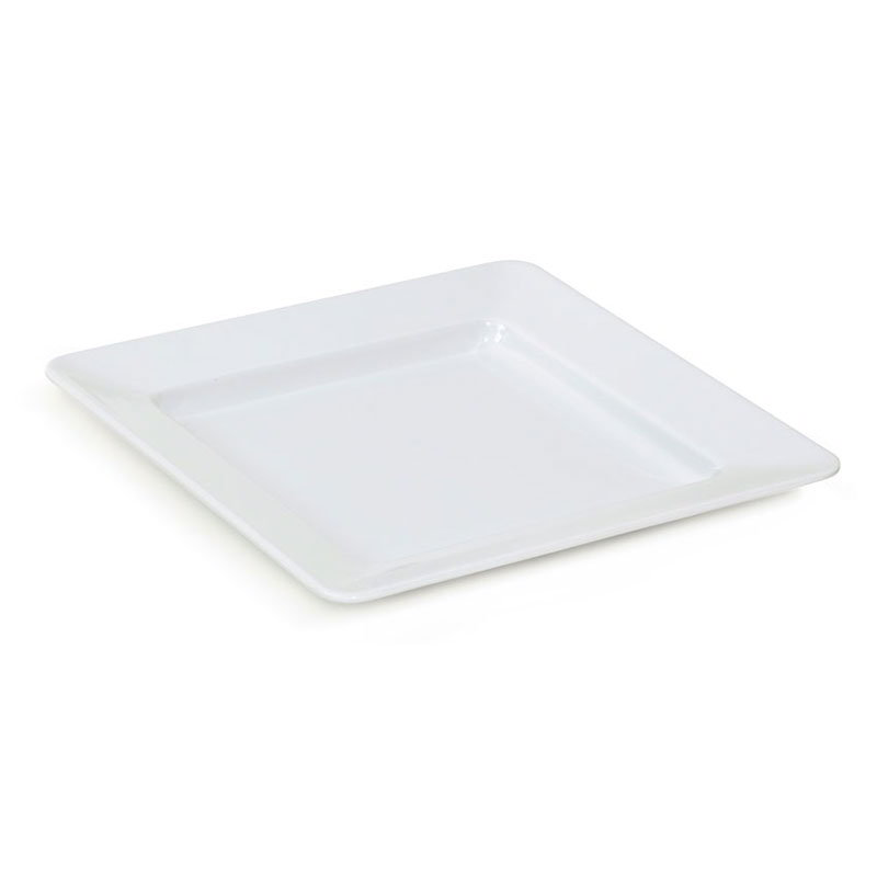 "GET ML-12-W 12""x 12""Plate, Square, Melamine, White"