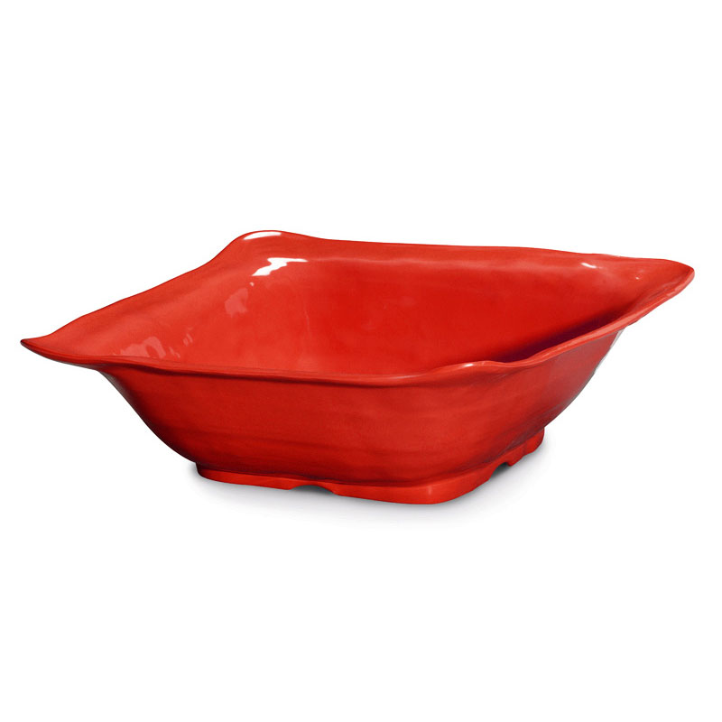 "GET ML-131-R 13""Square Bowl, Red, Melamine, New Yorker"