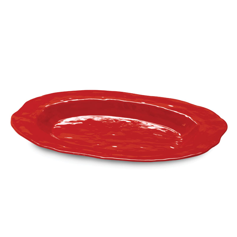 "GET ML-137-R 17-3/4""x 13""Oval Platter, Melamine, Red, New Yorker"