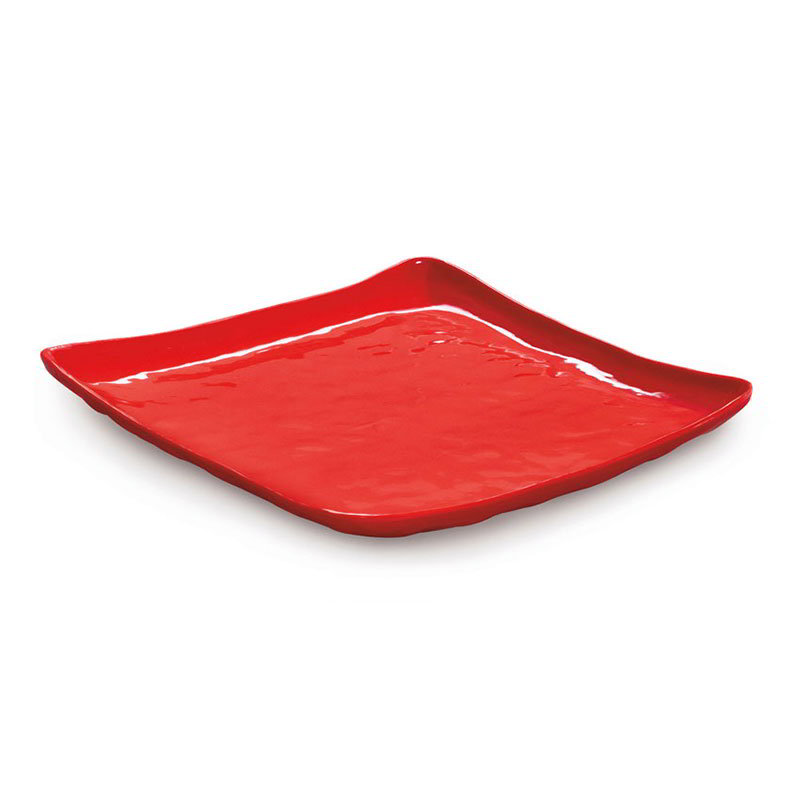 "GET ML-143-R 16""Square Plate, Red, Melamine, New Yorker"