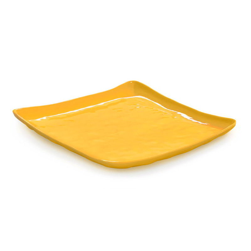 "GET ML-143-TY 16"" Square Dinner Plate, Melamine, Yellow"