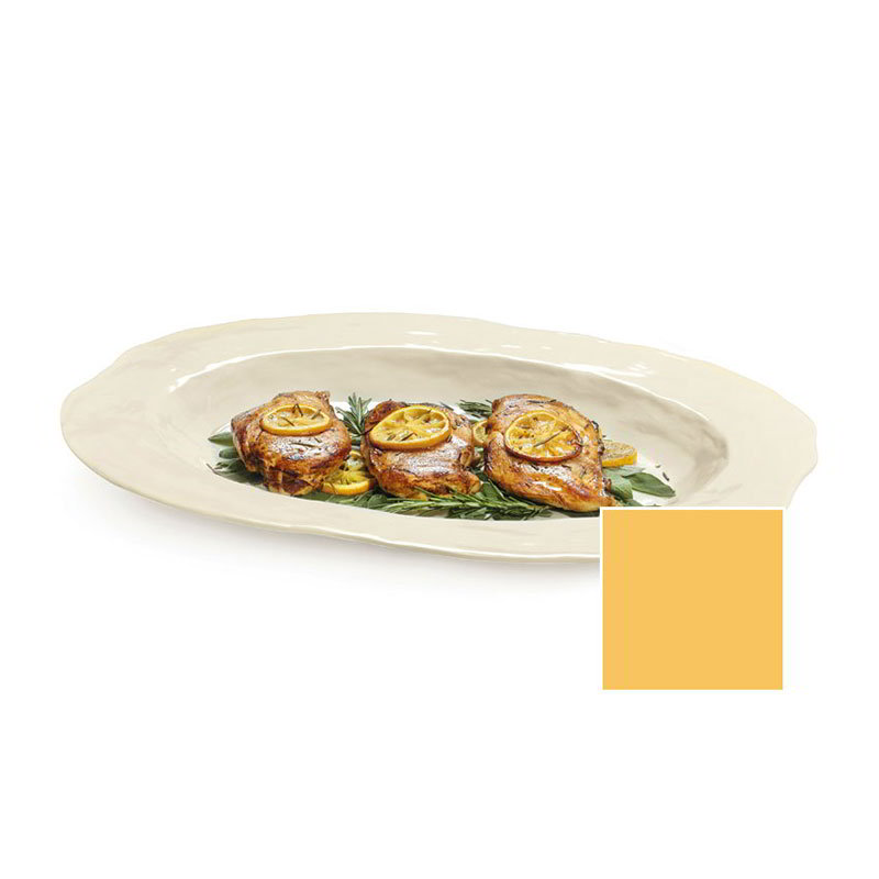 "GET ML-144-TY 21""x 15""Oval Platter, Melamine, Tropical Yellow, New Yorker"