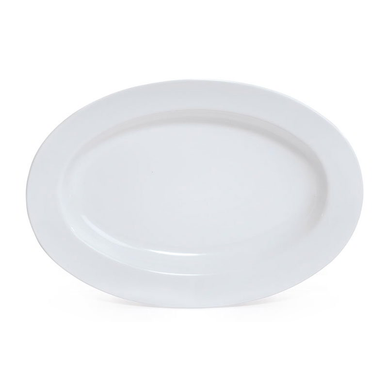 "Get ML-14-W 17""x 12""Oval Platter, 1-1/2""Deep, Melamine, White"