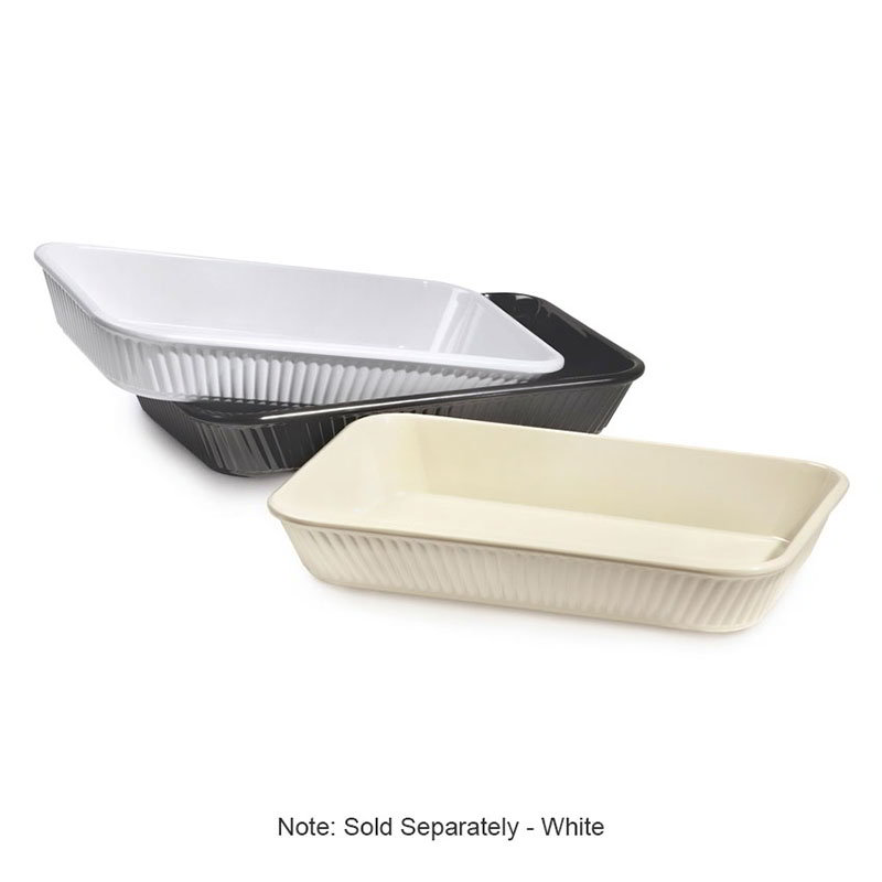 GET ML-156-W Milano Series Casserole Plastic Dish, 3 qt, Rectangular, Mel, Plastic Dishwasher Safe, White