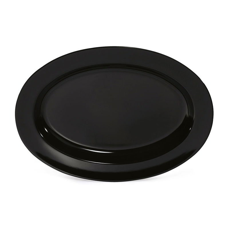"GET ML-15-BK 17-3/4""x12-3/4""Oval Platter, 1-1/2""Deep, Melamine, Black"