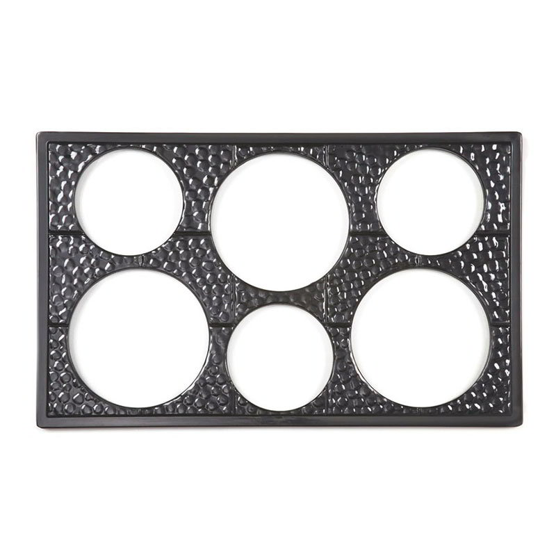 GET ML-161-BK Tiles-Cut Outs, 6 Holes Cut Out for Round Crocks, Mel, Plastic Dishwasher Safe, Black