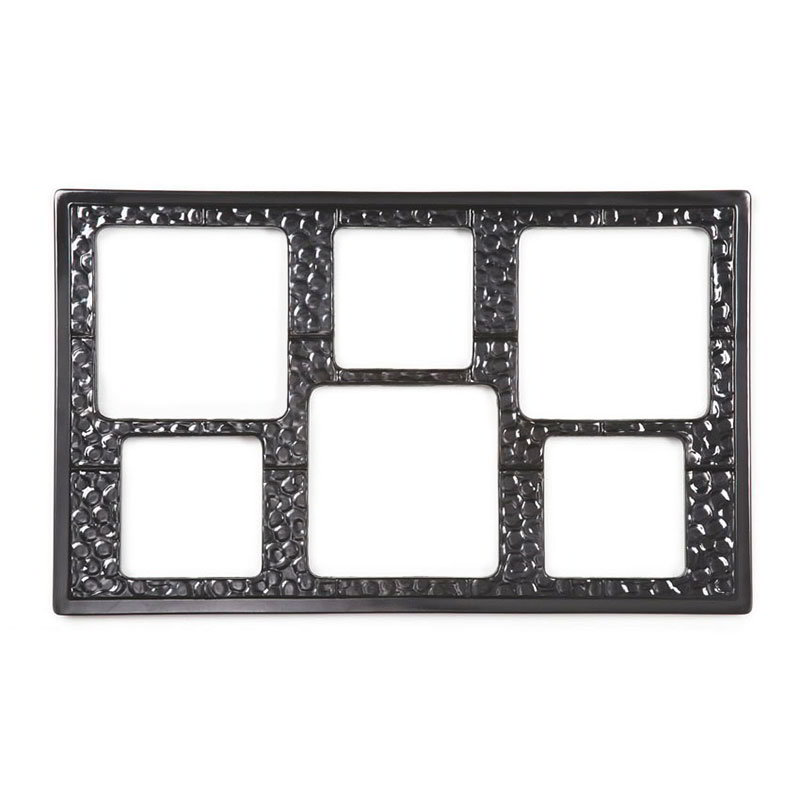 GET ML-162-BK Tiles-Cut Outs, 6 Holes Cut Out for Square Crocks, Mel, Plastic Dishwasher Safe, Black