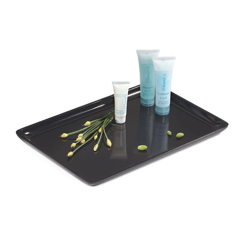 "GET ML-179-BK Rectangular Serving Platter, 11.75"" x 7.87"", Melamine, Black"