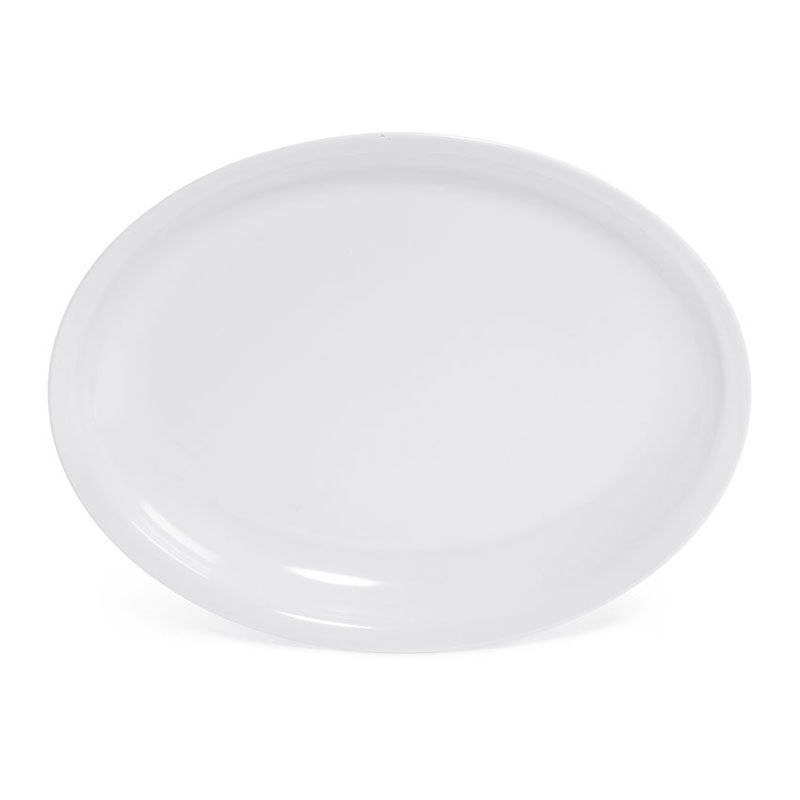 "GET ML-181-W Milano Plastic Platter, 15 x 12, 1-3/4""Deep, Oval, Mel, Dishwasher Safe, White"