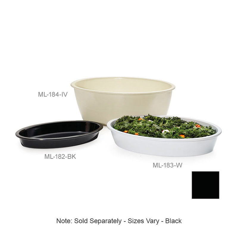 """GET ML-184-BK Milano Casserole Plastic Dish, 9 qt, 16 x 10 x 6""""Deep,  Mel, Plastic Dishwash Safe, Black"""