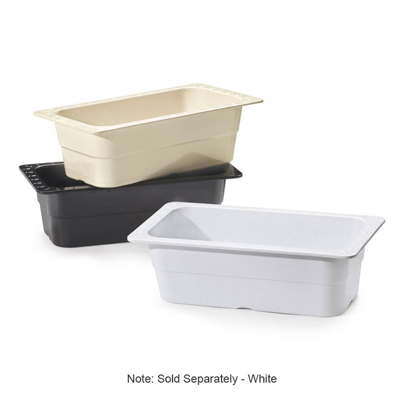 "GET ML-20-W 1/3-Size Melamine Food Pan, 4"" Deep, White"