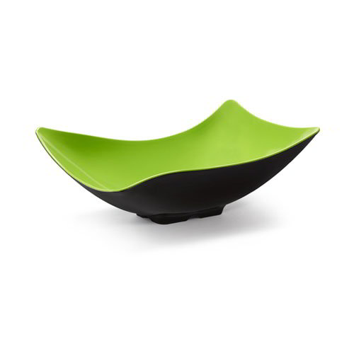 GET ML-219-G/BK Rectangular Flared Brasilia Plastic Bowl w/ 1.9-qt Capacity, Green & Black