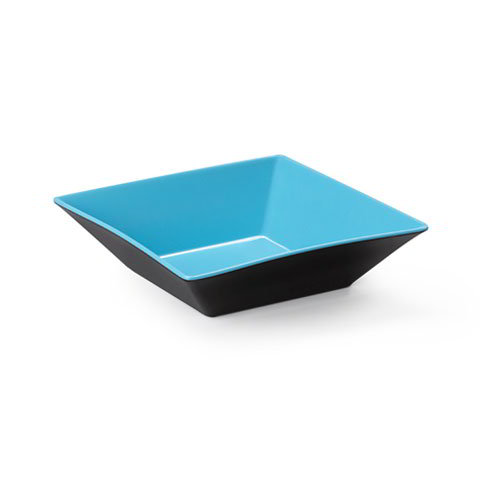 "GET ML-249-BL/BK 16"" Square Brasilia Plastic Bowl w/ 12.8-qt Capacity, Blue & Black"