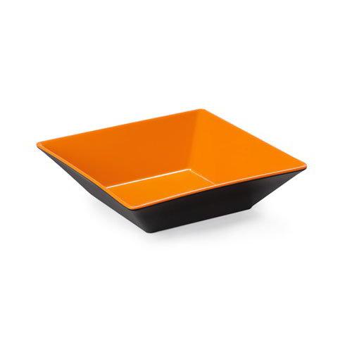 "GET ML-247-OR/BK 10"" Square Pasta Bowl w/ 2.5-qt Capacity, Melamine, Orange/Black"