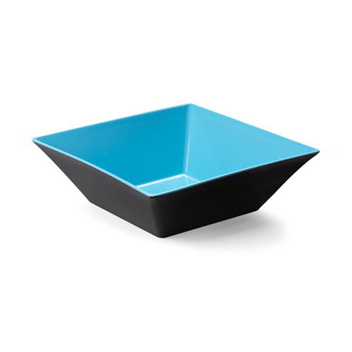 "GET ML-248-BL/BK 12"" Square Brasilia Plastic Bowl w/ 5.7-qt Capacity, Blue & Black"