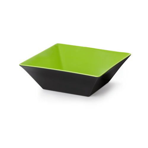 "GET ML-248-G/BK 12"" Square Brasilia Plastic Bowl w/ 5.7-qt Capacity, Green & Black"