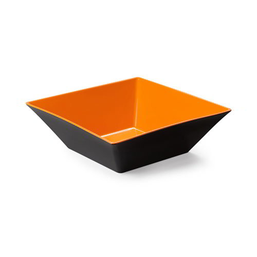 "GET ML-248-OR/BK 12"" Square Brasilia Plastic Bowl w/ 5.7-qt Capacity, Orange & Black"