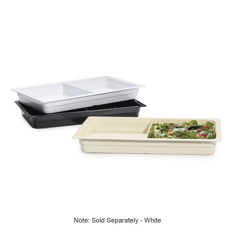 "Get ML-26-W 2-Compartment Melamine Food Pan 13 x 21 x 2-1/2"" Deep, White"