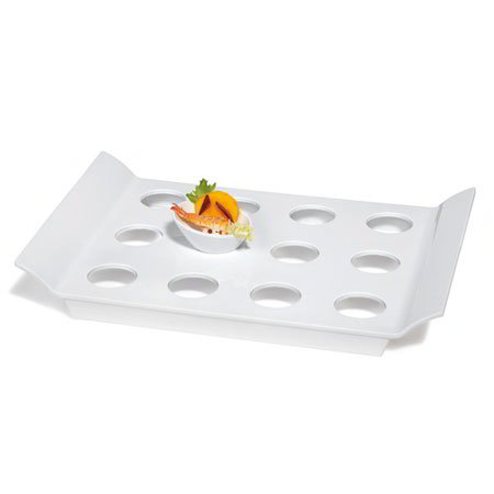 "GET ML-291-W Rectangular Tray w/ 12-Round Slots, 18 x 13"", Melamine, White"