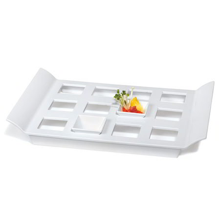 "GET ML-292-W Rectangular Tray w/ 12-Square Slots, 18 x 13"", Melamine, White"