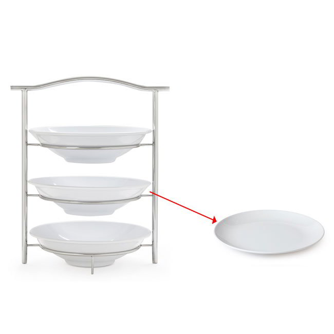 "GET MTS031/2075W-SET 3-Tier Display Stand Set, 14.25"" x 8.25"" x 19.5"", Stainless"