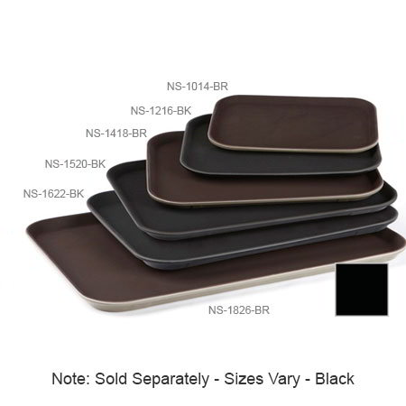 "GET NS-1418-BK Rectangular Serving Tray, Non-Skid, 14 x 18"" , Black"