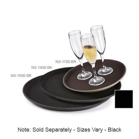 "GET NS-1400-BK 14"" Round Serving Tray, Non-Skid, Black"