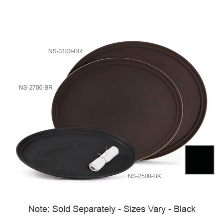 "GET NS-2700-BK Oval Serving Tray, Non-Skid, 27 x 22"" , Black"
