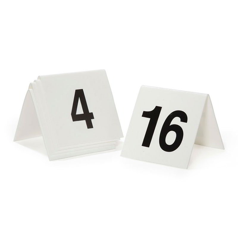 "GET NUM-1-25 Tabletop Number Tents - #1-25, 3"" x 3.75"", White/Black"