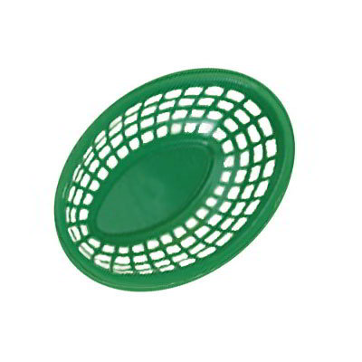 "GET OB-734-G 7-3/4""x 5-1/2""Oval Bread & Bun Basket, Plastic, Green"