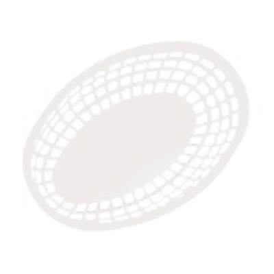 "GET OB-938-W 9-3/8""x 6""Oval Bread & Bun Basket, Plastic, White"