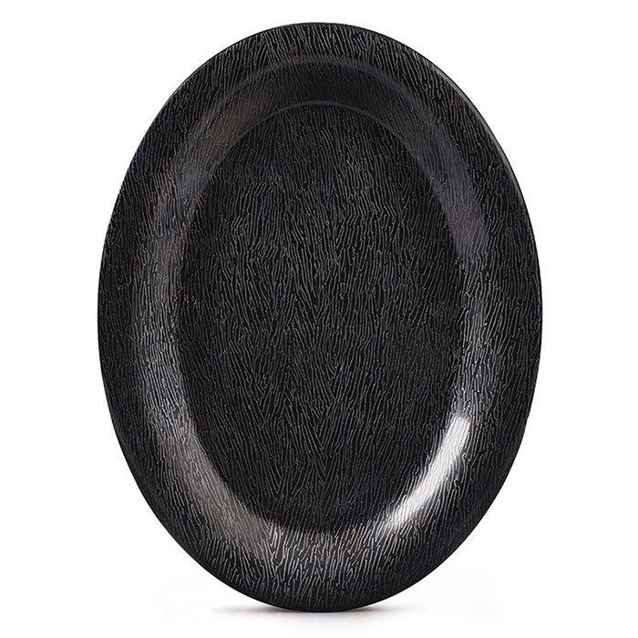 "GET OP-120-EW-BK 12x9"" Oval Platter - Melamine, 12x9"", Textured Black"