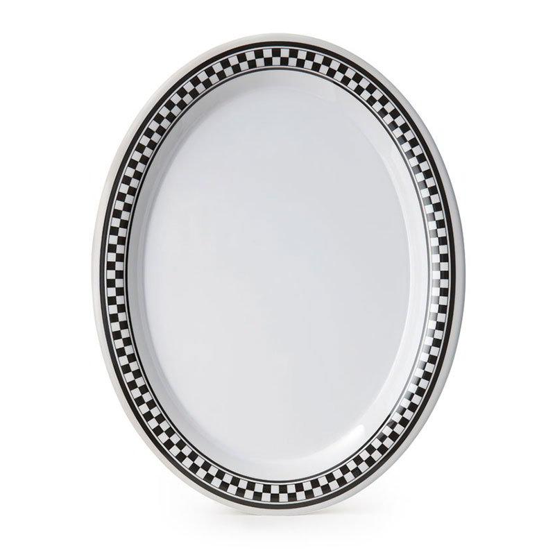 "GET OP-120-X 12""x 9""Oval Platter, Melamine, White Platter w/Checkered Rim"