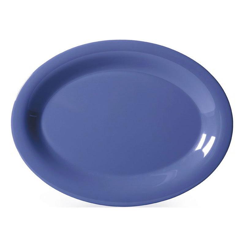 "GET OP-135-PB 13-1/2""x 10-1/2""Oval Platter, Melamine, Peacock Blue"