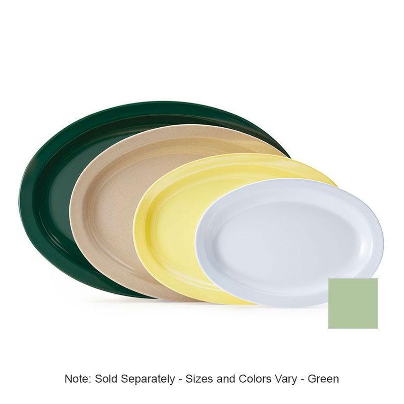 """GET OP-610-G 9-7/8""""x 6-3/4""""Oval Platter, Green, Melamine, Supermel"""