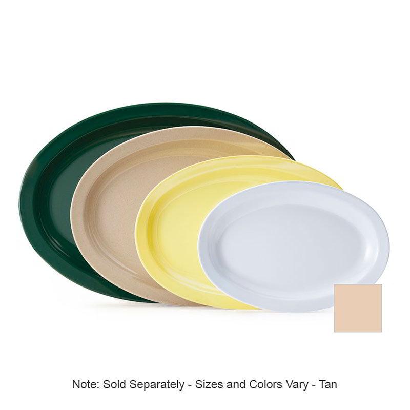 "GET OP-610-T Oval Serving Platter, 10"" x 6.75"", Melamine, Tan"