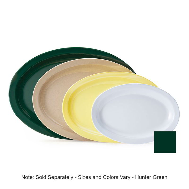 "GET OP-612-HG 11-5/8""x 8-1/8""Oval Platter, Hunter Green, Melamine, Supermel"