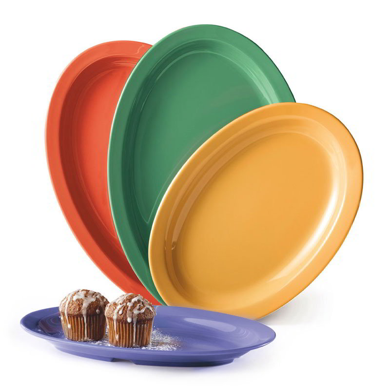 "GET OP-612-MIX Oval Supermel Plastic Platter, 11.75 x 8.25"", Mix Pack Mardi Gras Colors"