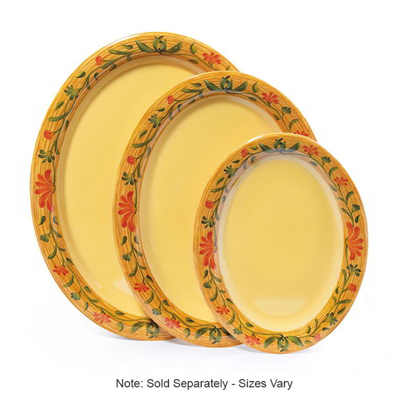 "GET OP-950-VN Oval Serving Platter, 9.75"" x 7.25"", Melamine, Yellow"