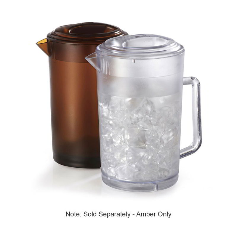 GET P-3064-A Water Pitcher, with Lid, 64-oz, Plastic, Amber