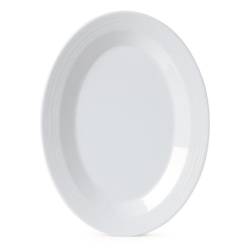 """GET PT-129-MN-W Minski Oval Platter - 12"""" x 9"""", Melamine, White"""