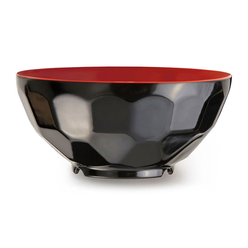 GET RB-122-RB 11oz Soup/Rice Bowl, Melamine, Black/Red