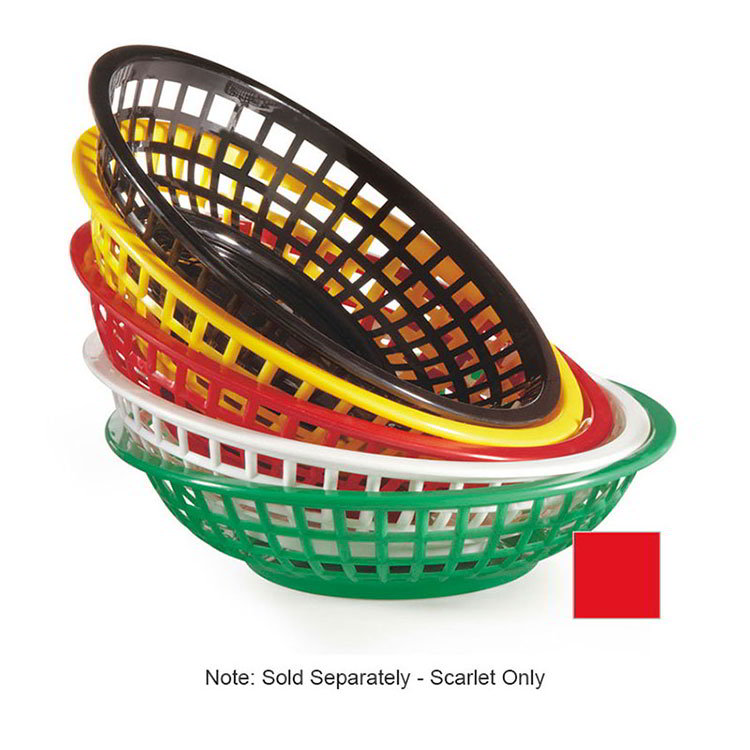 "GET RB-820-SC 8"" Round Bread & Bun Basket, 2"" Deep, Scarlet Plastic"