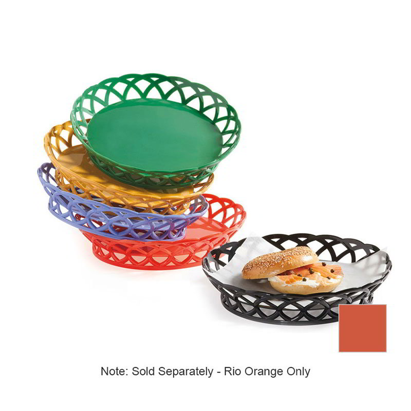 "GET RB-860-RO 10""Round Bread & Bun Basket, Plastic, Rio Orange"