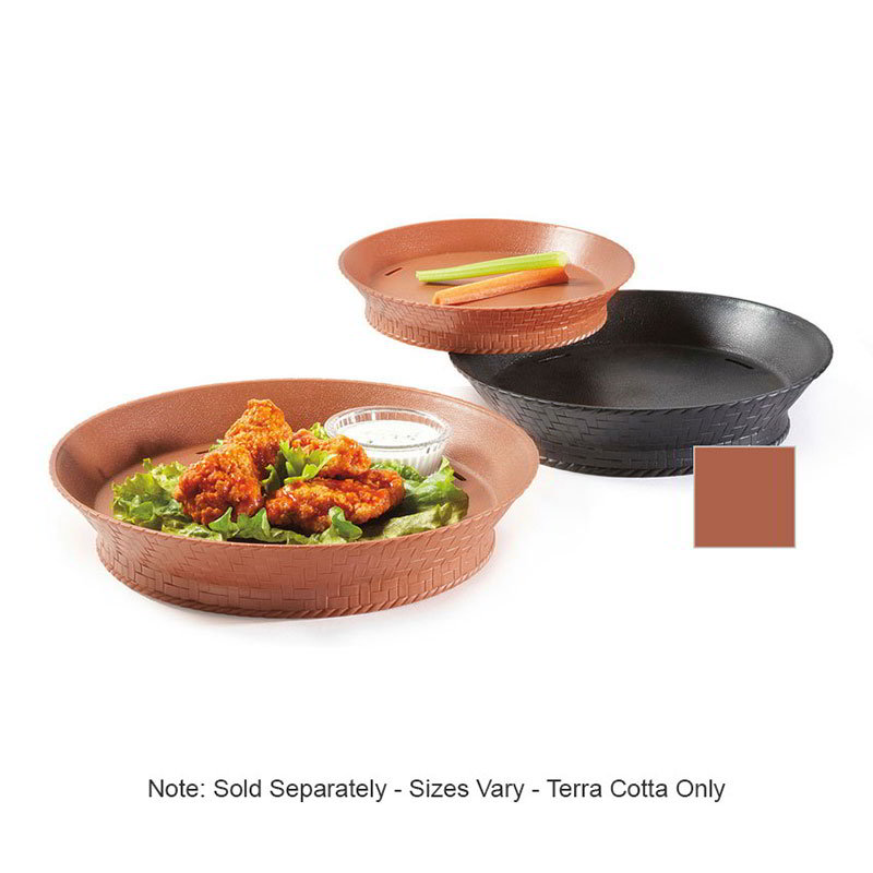 "GET RB-892-TER Slotted Basket, 9"" Round w/ Base, Text Fin, 1-1/4 Deep, Plastic, Terracotta"