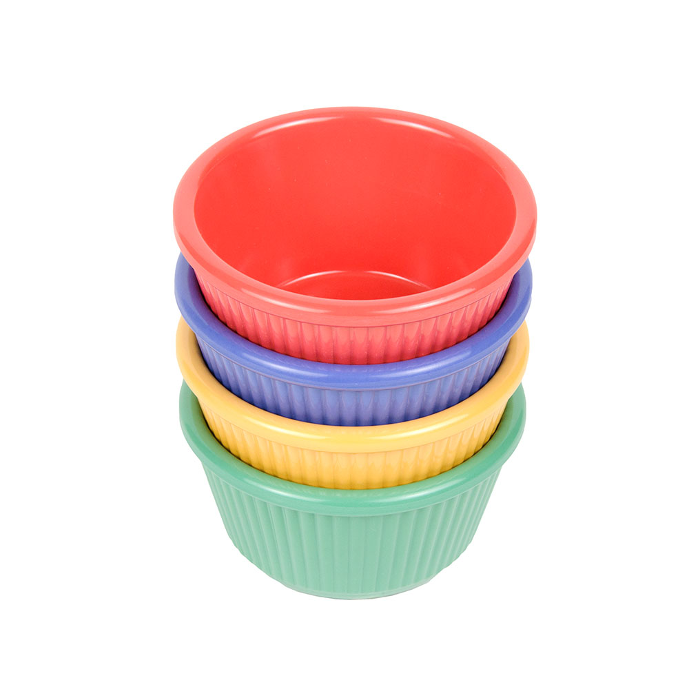 GET RM-401-MIX 4oz Ramekin, Fluted, Melamine, Mardi Gras Mix