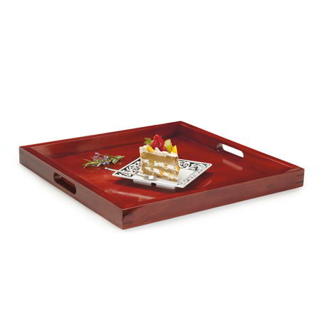 "GET RST-2020-M Square Hardwood Room Service Tray, 21 x 21"" , Mahogany"