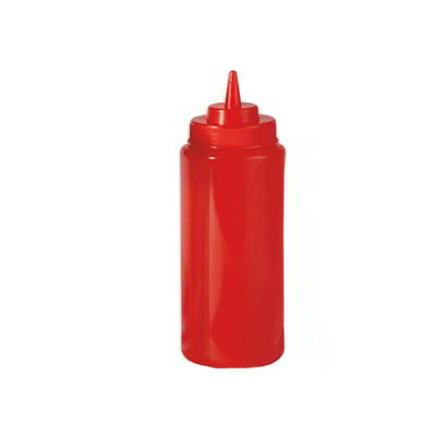 GET SB-12-R 12-oz Squeeze Bottle w/ Lid & Wide Mouth, Red