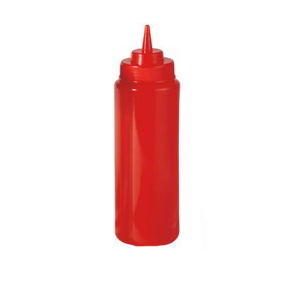 GET SB-24-R 24-oz Squeeze Bottle w/ Lid & Wide Mouth, Red