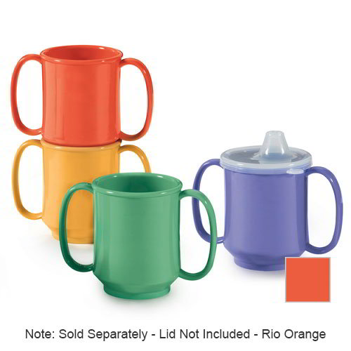 GET SN-103-RO 10-oz Plastic Mug, Double Handle, BPA Free, Rio Orange
